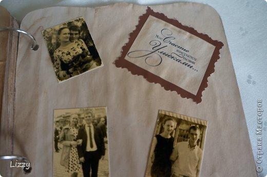 Был сделан моему мужу в подарок на день рождения. Альбом готовый, бумага офисная, вымочена в кофе. После проутюжена, распечатаны стихи. фото 7
