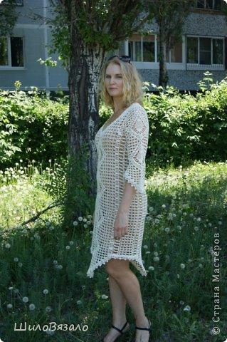 Вот такое платье! Легкое и очаровательное! Схема из Журнала мод 2008 Автор модели Анна Вититина. Пряжа Орион от Вита Котон (50/50 хлопок с вискозой) расход 450 гр (9 моточков) крючок 2,5. фото 4