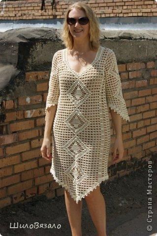 Вот такое платье! Легкое и очаровательное! Схема из Журнала мод 2008 Автор модели Анна Вититина. Пряжа Орион от Вита Котон (50/50 хлопок с вискозой) расход 450 гр (9 моточков) крючок 2,5. фото 1