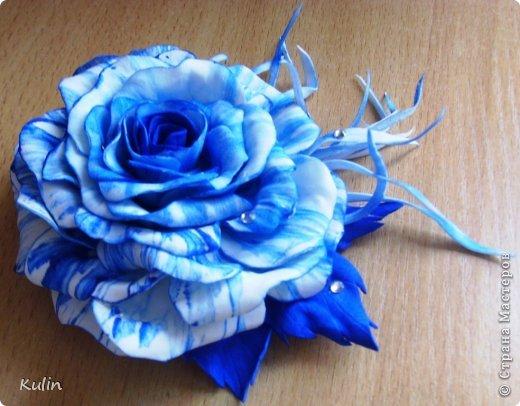 У коллеги день рождения. Думала что подарить... как вдруг та проговорилась, что к синему платью хочет заказать брошь-цветок... Ура! Есть решение! Значит эта брошь будет подарком!!! фото 2