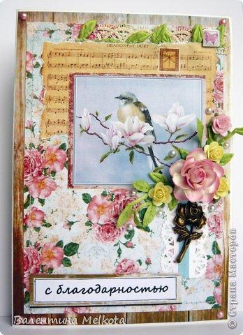 Эти похожие открытки делала на выпускной для тренера по шахматам и для директора Дома творчества. Они обе женщины пенсионного возраста, но думаю, что птичек, цветочки и рюшечки любят все женщины и в любом возрасте. Они обе большого формата 21х15 см. фото 2