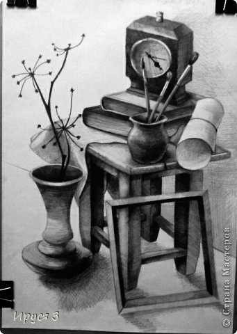 Работу выполнял Максим в художественной школе карандашом