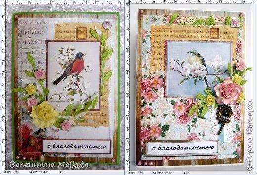 Эти похожие открытки делала на выпускной для тренера по шахматам и для директора Дома творчества. Они обе женщины пенсионного возраста, но думаю, что птичек, цветочки и рюшечки любят все женщины и в любом возрасте. Они обе большого формата 21х15 см.