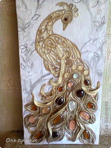 Картина панно рисунок Мастер-класс Моделирование конструирование Филигранный павлин МК Шпагат фото 16