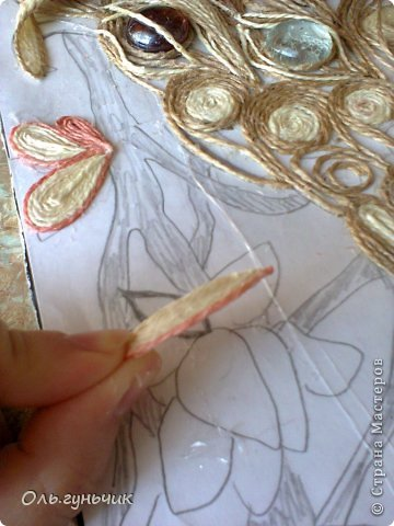 Картина панно рисунок Мастер-класс Моделирование конструирование Филигранный павлин МК Шпагат фото 20