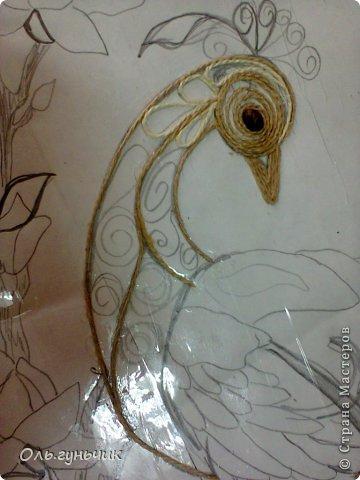 Картина панно рисунок Мастер-класс Моделирование конструирование Филигранный павлин МК Шпагат фото 5