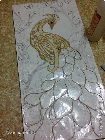 Картина панно рисунок Мастер-класс Моделирование конструирование Филигранный павлин МК Шпагат фото 9
