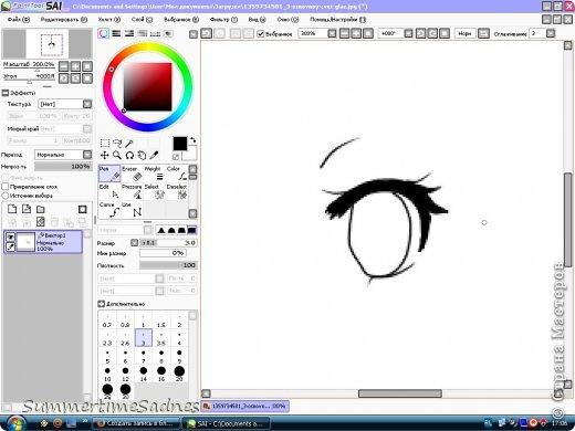 Итак,для того чтобы нарисовать глаз в Paint tool sai нам нужно сделать лайнер. Для этого мы открываем в SAI любой рисунок и делаем лайнер глаза,либо можете нарисовать лайнер сами без готового рисунка. фото 6