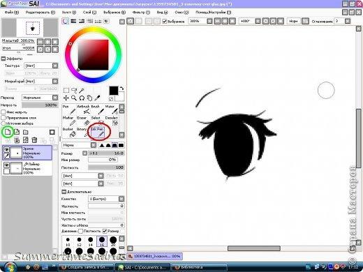 Итак,для того чтобы нарисовать глаз в Paint tool sai нам нужно сделать лайнер. Для этого мы открываем в SAI любой рисунок и делаем лайнер глаза,либо можете нарисовать лайнер сами без готового рисунка. фото 8