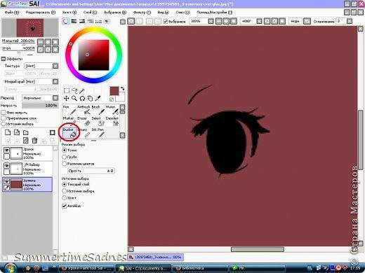 Итак,для того чтобы нарисовать глаз в Paint tool sai нам нужно сделать лайнер. Для этого мы открываем в SAI любой рисунок и делаем лайнер глаза,либо можете нарисовать лайнер сами без готового рисунка. фото 9