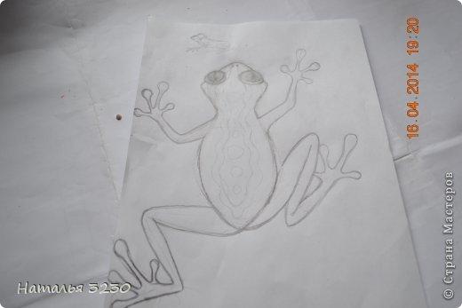 Картина панно рисунок Мастер-класс День рождения Лепка Папье-маше Панно ЛЯГУШКА Бумага фото 6