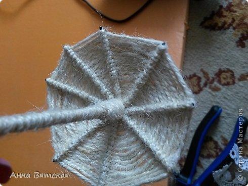 Мастер-класс Поделка изделие Моделирование конструирование Джутовый зонтик из шпилек-экспресс вариант фото 16