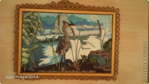 Картина панно рисунок Гильоширование Макраме Картина выполненная в технике гильоширование и мараме Как на озере большом Нитки Шпагат фото 6