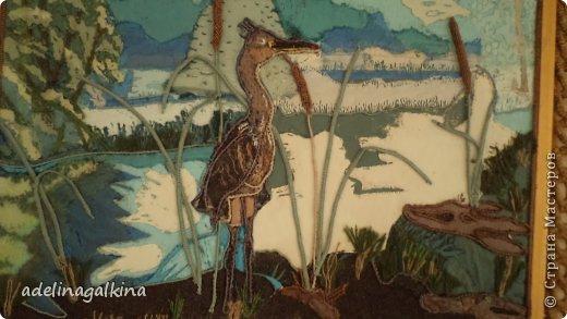 Картина панно рисунок Гильоширование Макраме Картина выполненная в технике гильоширование и мараме Как на озере большом Нитки Шпагат фото 2
