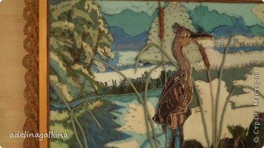 Картина панно рисунок Гильоширование Макраме Картина выполненная в технике гильоширование и мараме Как на озере большом Нитки Шпагат фото 3