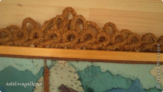 Картина панно рисунок Гильоширование Макраме Картина выполненная в технике гильоширование и мараме Как на озере большом Нитки Шпагат фото 5