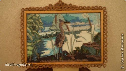 Картина панно рисунок Гильоширование Макраме Картина выполненная в технике гильоширование и мараме Как на озере большом Нитки Шпагат фото 1