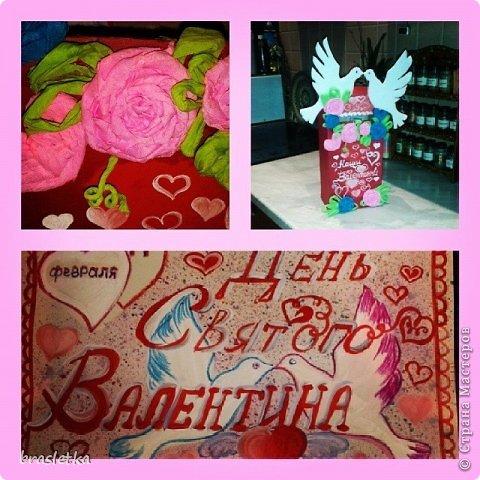 Почтовый ящик для валентинок на  День Святого Валентина. Голубки и розы. фото 2