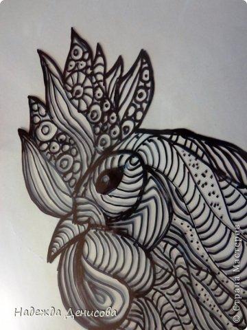 Картина панно рисунок Мастер-класс Аппликация из пластилина + обратная Красивая птица Пластилин Стекло фото 6