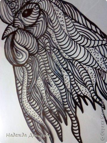 Картина панно рисунок Мастер-класс Аппликация из пластилина + обратная Красивая птица Пластилин Стекло фото 7