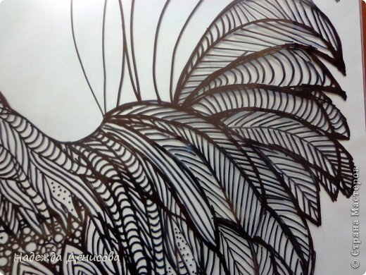 Картина панно рисунок Мастер-класс Аппликация из пластилина + обратная Красивая птица Пластилин Стекло фото 13