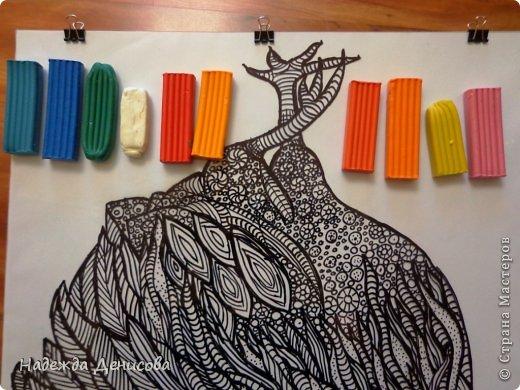 Картина панно рисунок Мастер-класс Аппликация из пластилина + обратная Красивая птица Пластилин Стекло фото 16
