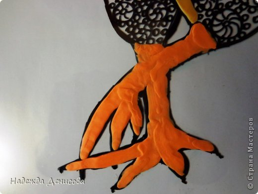 Картина панно рисунок Мастер-класс Аппликация из пластилина + обратная Красивая птица Пластилин Стекло фото 17