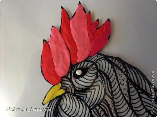 Картина панно рисунок Мастер-класс Аппликация из пластилина + обратная Красивая птица Пластилин Стекло фото 18