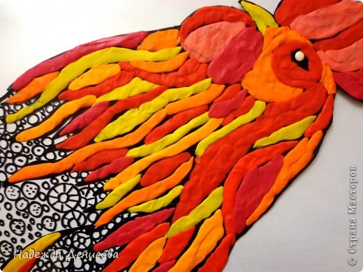 Картина панно рисунок Мастер-класс Аппликация из пластилина + обратная Красивая птица Пластилин Стекло фото 20