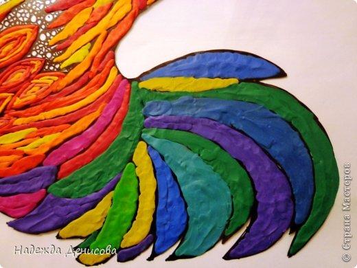 Картина панно рисунок Мастер-класс Аппликация из пластилина + обратная Красивая птица Пластилин Стекло фото 22