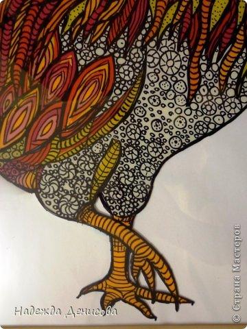 Картина панно рисунок Мастер-класс Аппликация из пластилина + обратная Красивая птица Пластилин Стекло фото 29