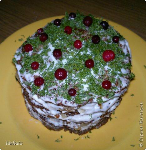 Добрый вечер! Я опять с рецептом))))) Печеночный тортик-настоящая находка для любителей этого продукта,подходит и для завтрака-обеда-ужина и к праздничному столу подать не стыдно! фото 1