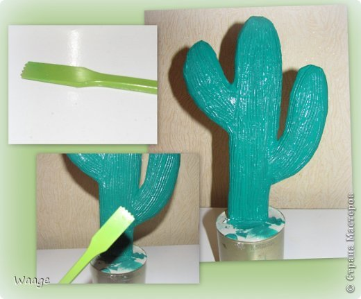 Предлагаю вам сделать вот такой кактус для временного хранения бижутерии. фото 10