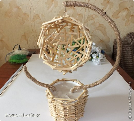 DIY Beautiful Flower Topiary Basket from Wood Sticks