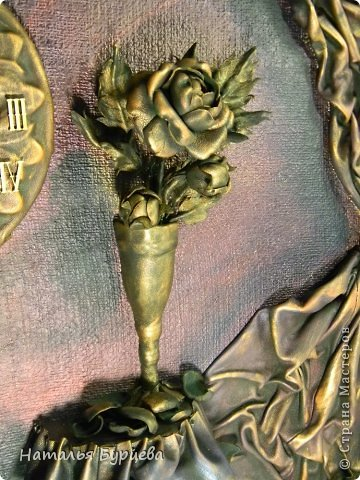 Картина панно рисунок Ассамбляж Моделирование конструирование Картина-часы из кожи Кожа Краска Мешковина фото 3
