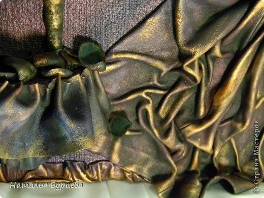 Картина панно рисунок Ассамбляж Моделирование конструирование Картина-часы из кожи Кожа Краска Мешковина фото 4