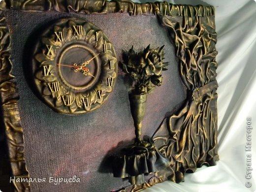 Картина панно рисунок Ассамбляж Моделирование конструирование Картина-часы из кожи Кожа Краска Мешковина фото 1