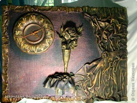 Картина панно рисунок Ассамбляж Моделирование конструирование Картина-часы из кожи Кожа Краска Мешковина фото 2