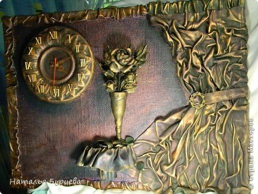 Картина панно рисунок Ассамбляж Моделирование конструирование Картина-часы из кожи Кожа Краска Мешковина фото 7