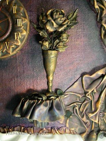 Картина панно рисунок Ассамбляж Моделирование конструирование Картина-часы из кожи Кожа Краска Мешковина фото 5
