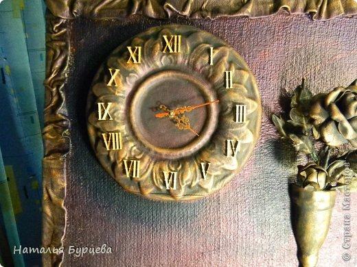 Картина панно рисунок Ассамбляж Моделирование конструирование Картина-часы из кожи Кожа Краска Мешковина фото 6