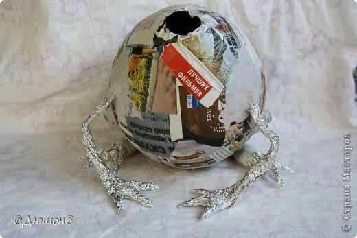 Мастер-класс Поделка изделие Папье-маше МК - жабика копилка Бумага Клей Краска фото 15
