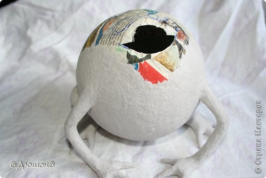 Мастер-класс Поделка изделие Папье-маше МК - жабика копилка Бумага Клей Краска фото 17