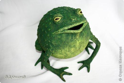 Мастер-класс Поделка изделие Папье-маше МК - жабика копилка Бумага Клей Краска фото 33