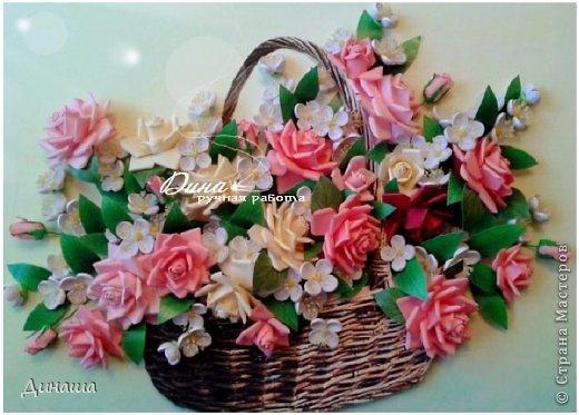 Добрый день! Хочу сегодня представить Вам мою новую работу: корзину наполненную розами и жасмином. Все цветочки сделаны в ручную до последней тычинки. Корзина - распечатка, листочки тоже. Размер картины в раме - 45 на 55 см. фото 1