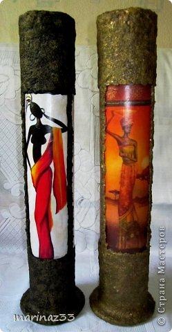 Добрый вечер!!! Сделала простенькие напольные вазы (по кругу приклеила по 3 длинных картинки 28х11см и оформила жидкими обоями)  фото 1