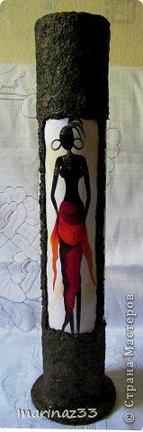 Добрый вечер!!! Сделала простенькие напольные вазы (по кругу приклеила по 3 длинных картинки 28х11см и оформила жидкими обоями)  фото 4