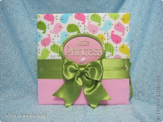 Скрапбукинг День рождения Аппликация Большой альбом для маленькой принцессы Бумага Картон Ленты Ткань фото 1
