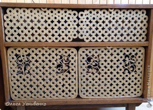 Декор предметов Мастер-класс Моделирование конструирование Дверцы для тумбочки Трубочки бумажные фото 1