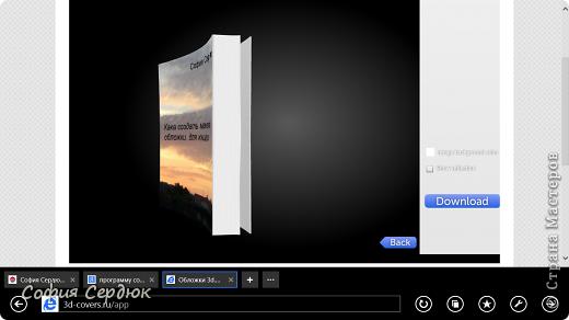 Этот МК посвящается всем любителям литературного творчества, писателям которые собираются выпустить своё творение в свет, или просто красиво оформить его. Я сейчас пишу книгу. Написано ещё совсем не много, но я уже задумывалась об обложке. Сделала я её онлайн здесь http://3d-covers.ru/app/ фото 18